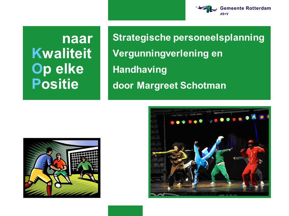 Strategische personeelsplanning Vergunningverlening en Handhaving door Margreet Schotman naar Kwaliteit Op elke Positie