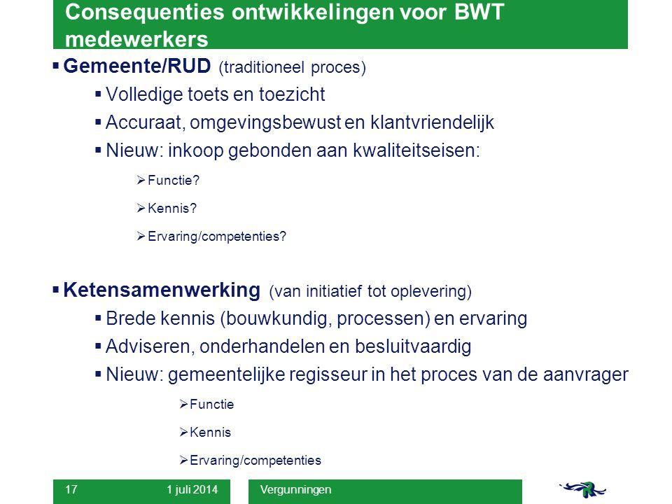 1 juli 2014 Vergunningen 17 Consequenties ontwikkelingen voor BWT medewerkers  Gemeente/RUD (traditioneel proces)  Volledige toets en toezicht  Acc