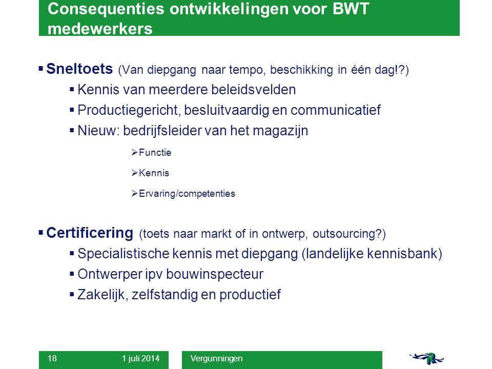 1 juli 2014 Vergunningen 18 Consequenties ontwikkelingen voor BWT medewerkers  Sneltoets (Van diepgang naar tempo, beschikking in één dag!?)  Kennis