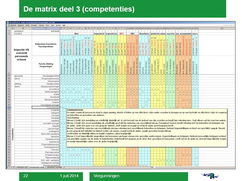 1 juli 2014 Vergunningen 22 De matrix deel 3 (competenties)