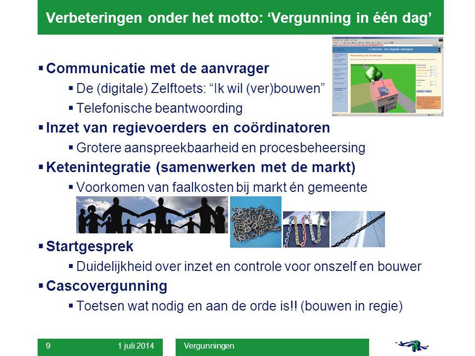 """1 juli 2014 Vergunningen 9 Verbeteringen onder het motto: 'Vergunning in één dag'  Communicatie met de aanvrager  De (digitale) Zelftoets: """"Ik wil ("""