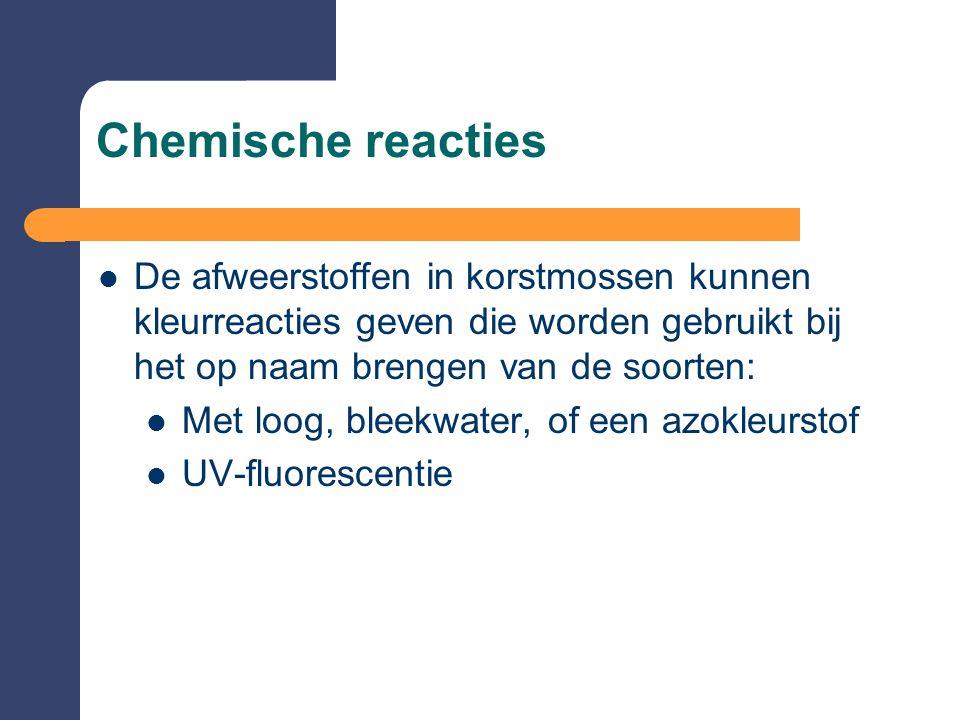 Chemische reacties  De afweerstoffen in korstmossen kunnen kleurreacties geven die worden gebruikt bij het op naam brengen van de soorten:  Met loog, bleekwater, of een azokleurstof  UV-fluorescentie