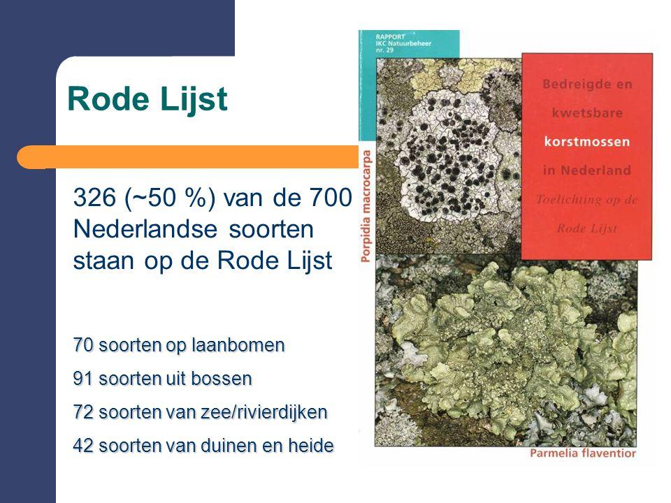 Rode Lijst 326 (~50 %) van de 700 Nederlandse soorten staan op de Rode Lijst 70 soorten op laanbomen 91 soorten uit bossen 72 soorten van zee/rivierdijken 42 soorten van duinen en heide