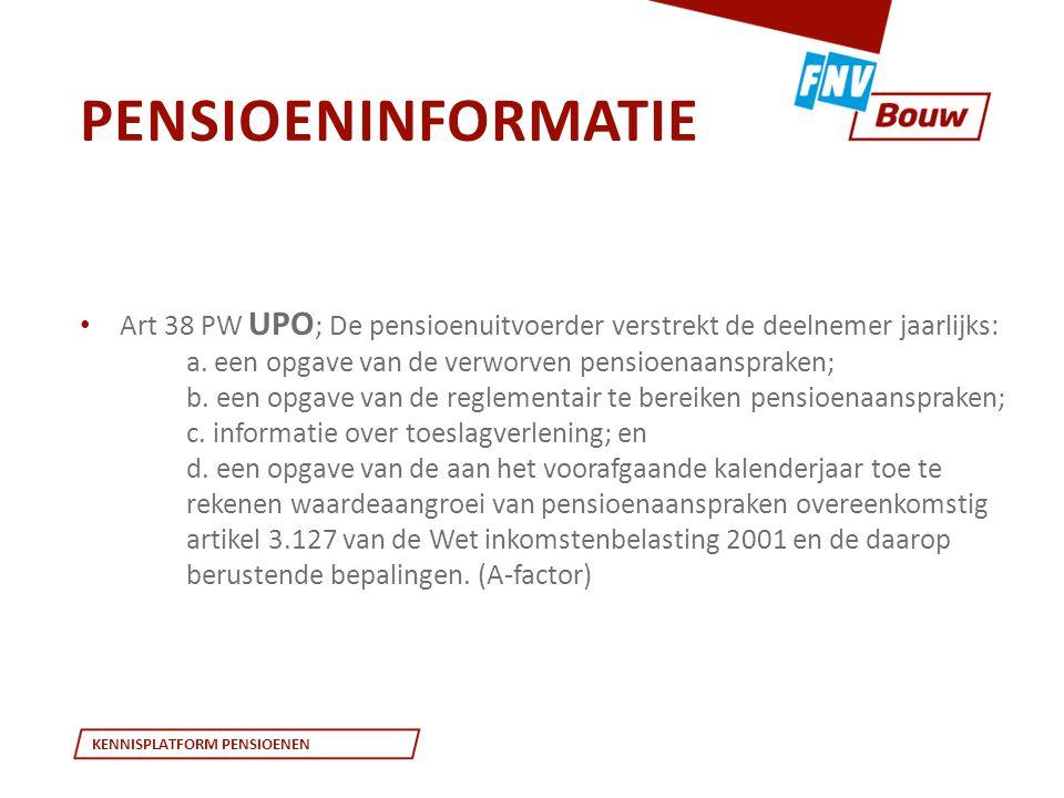 KENNISPLATFORM PENSIOENEN • Art 38 PW UPO ; De pensioenuitvoerder verstrekt de deelnemer jaarlijks: a. een opgave van de verworven pensioenaanspraken;