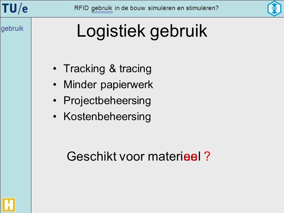 gebruikRFIDsimulerenin de bouwen stimuleren? Logistiek gebruik •Tracking & tracing •Minder papierwerk •Projectbeheersing •Kostenbeheersing eemateril G