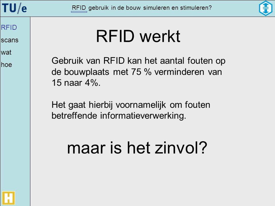 gebruikRFIDsimulerenin de bouwen stimuleren? RFID werkt Gebruik van RFID kan het aantal fouten op de bouwplaats met 75 % verminderen van 15 naar 4%. H