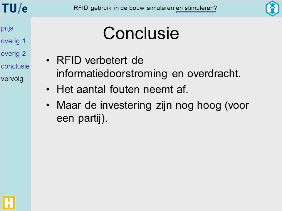 gebruikRFIDsimulerenin de bouwen stimuleren? Conclusie •RFID verbetert de informatiedoorstroming en overdracht. •Het aantal fouten neemt af. •Maar de