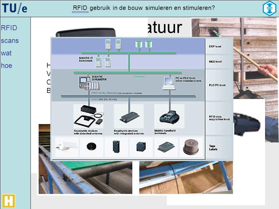 gebruikRFIDsimulerenin de bouwen stimuleren? Apparatuur Handscanner Vaste scanner Communicatie netwerk Back office RFID scans wat hoe