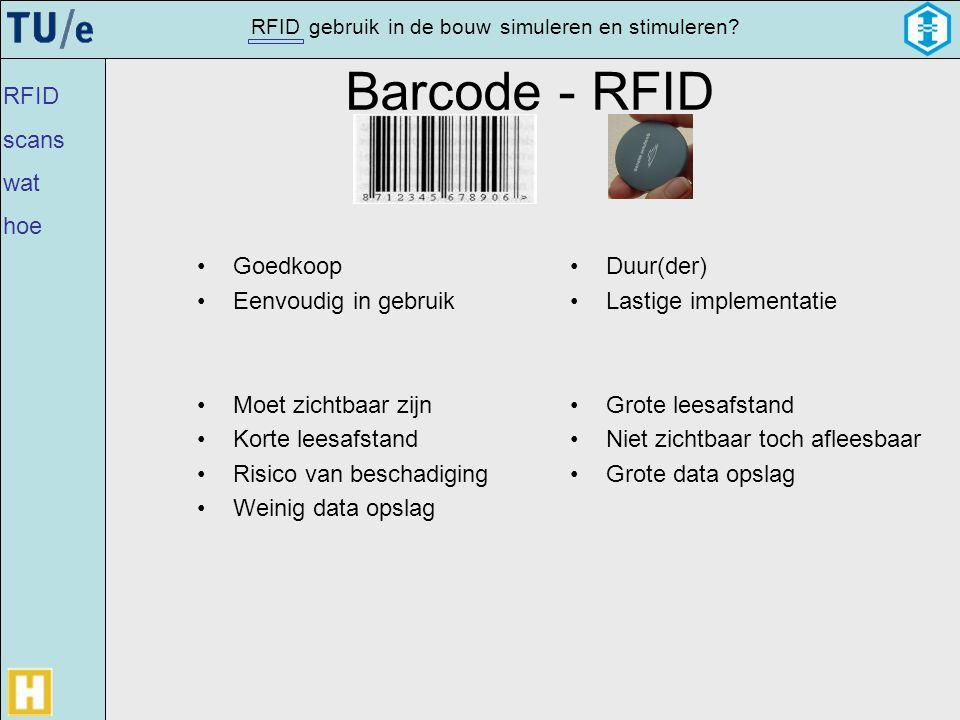 gebruikRFIDsimulerenin de bouwen stimuleren? Barcode - RFID •Goedkoop •Eenvoudig in gebruik •Moet zichtbaar zijn •Korte leesafstand •Risico van bescha