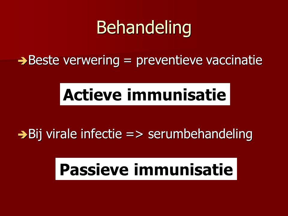 Behandeling  Beste verwering = preventieve vaccinatie  Bij virale infectie => serumbehandeling Actieve immunisatie Passieve immunisatie
