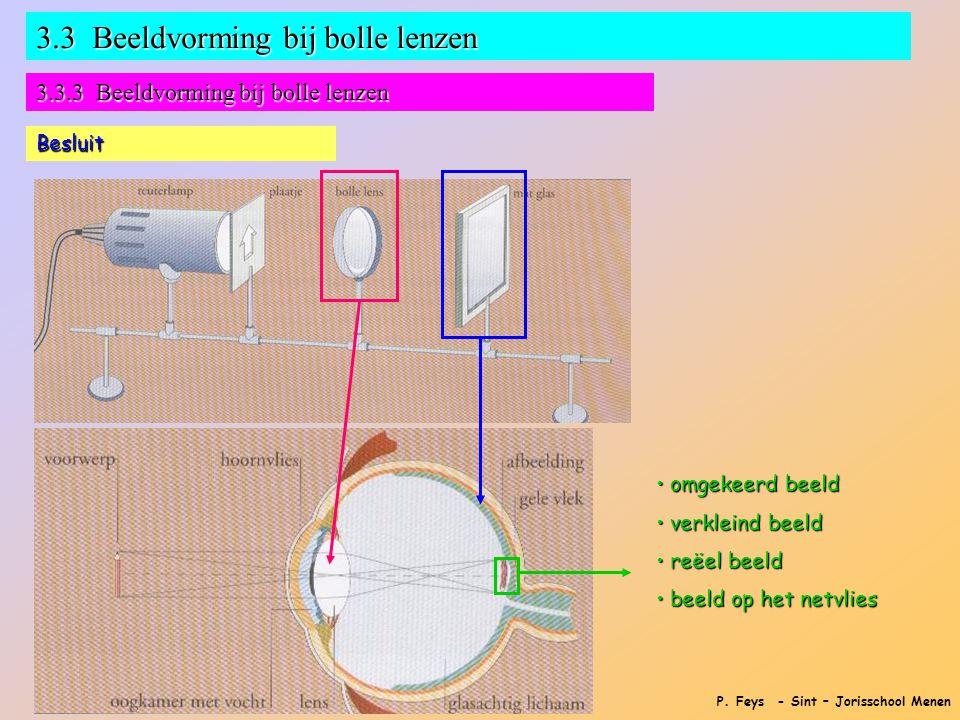 P. Feys - Sint – Jorisschool Menen 3.3 Beeldvorming bij bolle lenzen 3.3.3 Beeldvorming bij bolle lenzen Besluit • omgekeerd beeld • verkleind beeld •