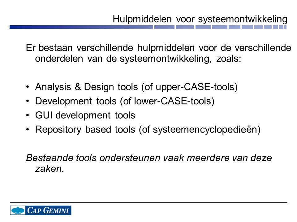 Hulpmiddelen voor systeemontwikkeling Er bestaan verschillende hulpmiddelen voor de verschillende onderdelen van de systeemontwikkeling, zoals: •Analy