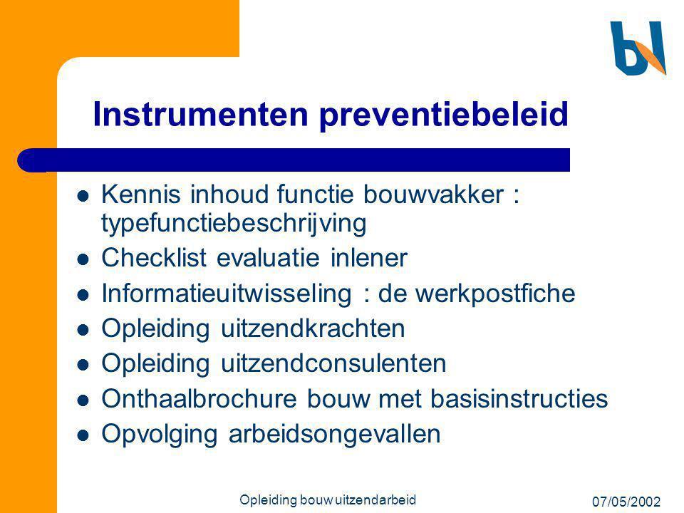 07/05/2002 Opleiding bouw uitzendarbeid Instrumenten preventiebeleid  Kennis inhoud functie bouwvakker : typefunctiebeschrijving  Checklist evaluati