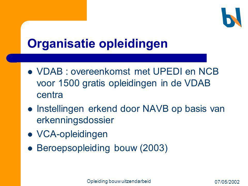 07/05/2002 Opleiding bouw uitzendarbeid Organisatie opleidingen  VDAB : overeenkomst met UPEDI en NCB voor 1500 gratis opleidingen in de VDAB centra