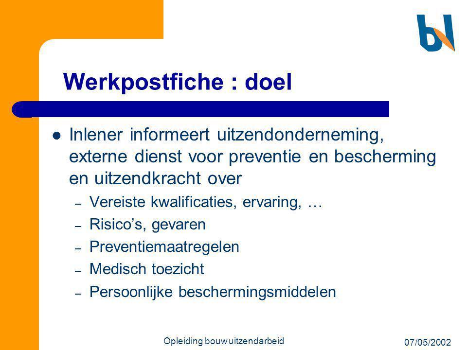 07/05/2002 Opleiding bouw uitzendarbeid Werkpostfiche : doel  Inlener informeert uitzendonderneming, externe dienst voor preventie en bescherming en