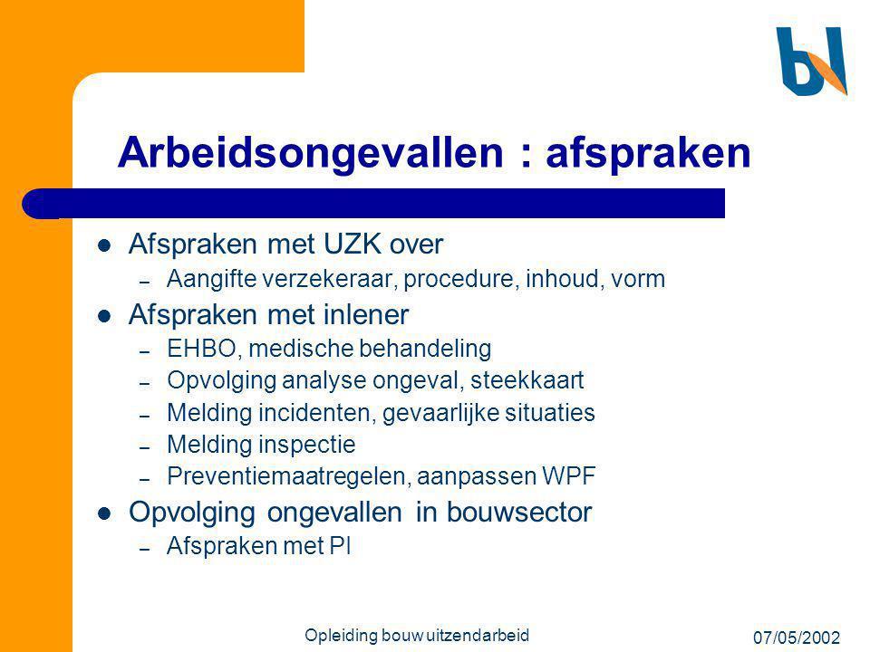 07/05/2002 Opleiding bouw uitzendarbeid Arbeidsongevallen : afspraken  Afspraken met UZK over – Aangifte verzekeraar, procedure, inhoud, vorm  Afspr