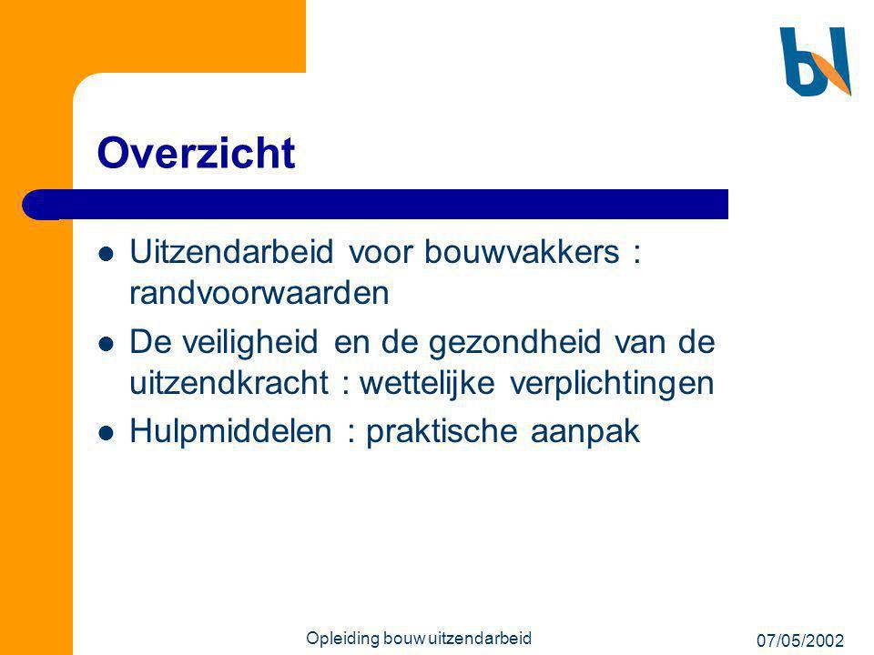 07/05/2002 Opleiding bouw uitzendarbeid Overzicht  Uitzendarbeid voor bouwvakkers : randvoorwaarden  De veiligheid en de gezondheid van de uitzendkr