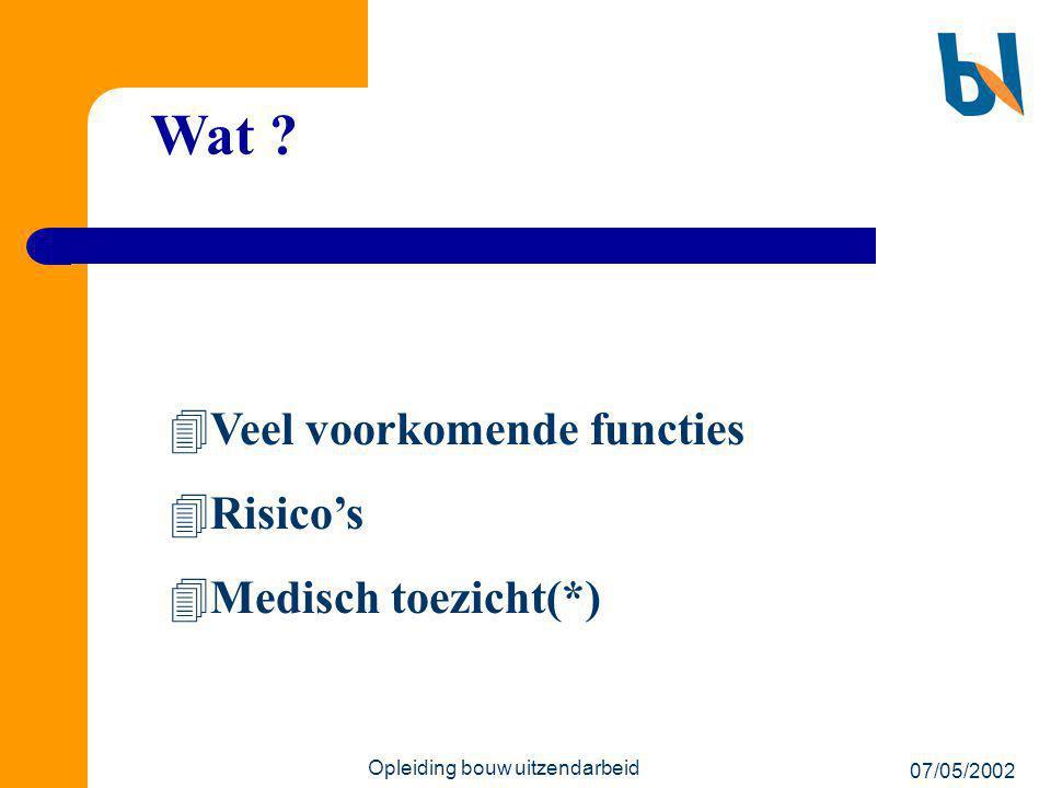 07/05/2002 Opleiding bouw uitzendarbeid Wat ?  Veel voorkomende functies  Risico's  Medisch toezicht(*)