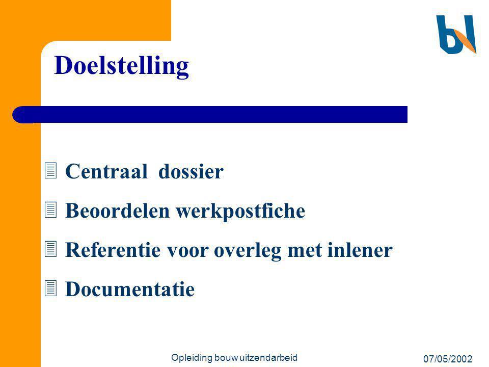 07/05/2002 Opleiding bouw uitzendarbeid Doelstelling  Centraal dossier  Beoordelen werkpostfiche  Referentie voor overleg met inlener  Documentati