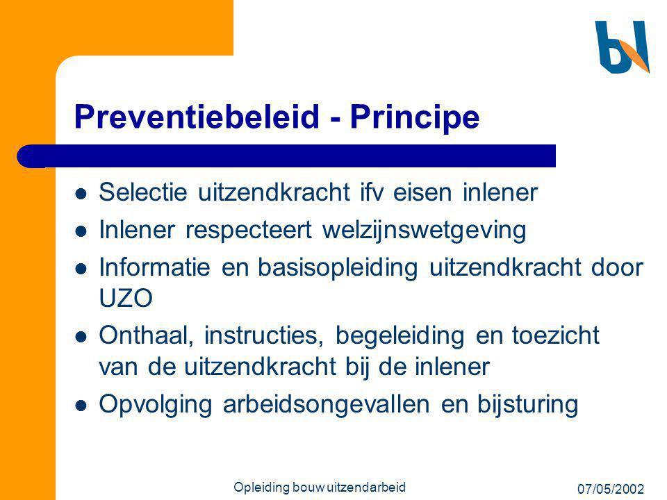 07/05/2002 Opleiding bouw uitzendarbeid Preventiebeleid - Principe  Selectie uitzendkracht ifv eisen inlener  Inlener respecteert welzijnswetgeving