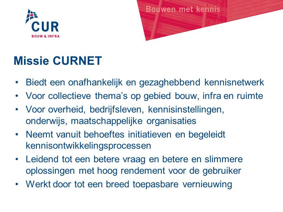 Missie CURNET •Biedt een onafhankelijk en gezaghebbend kennisnetwerk •Voor collectieve thema's op gebied bouw, infra en ruimte •Voor overheid, bedrijf