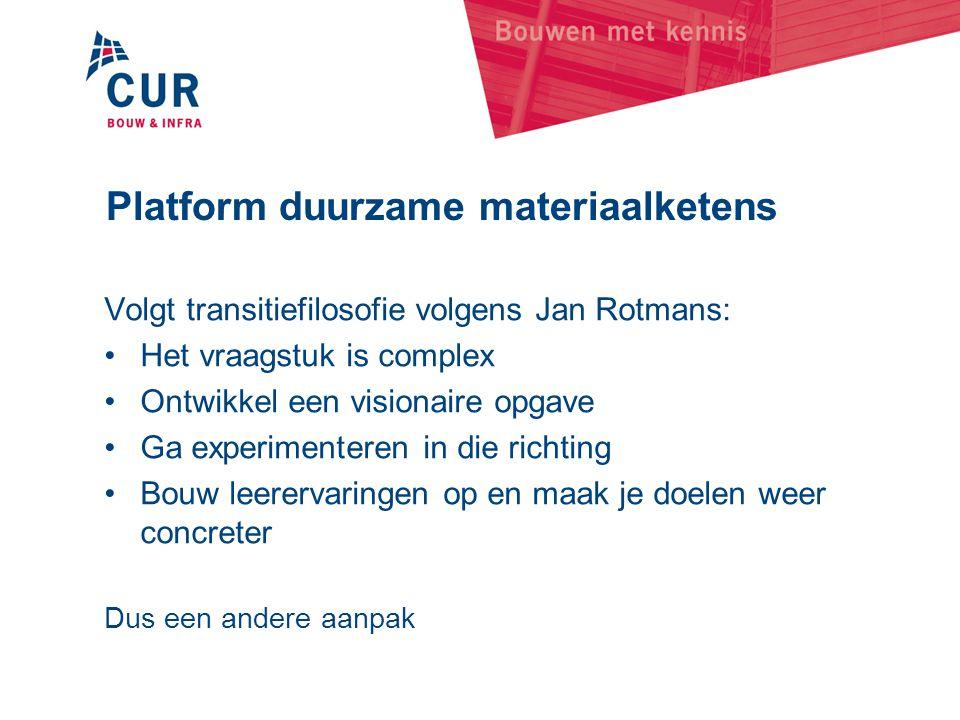 Platform duurzame materiaalketens Volgt transitiefilosofie volgens Jan Rotmans: •Het vraagstuk is complex •Ontwikkel een visionaire opgave •Ga experim
