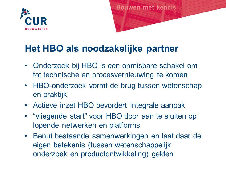 Het HBO als noodzakelijke partner •Onderzoek bij HBO is een onmisbare schakel om tot technische en procesvernieuwing te komen •HBO-onderzoek vormt de