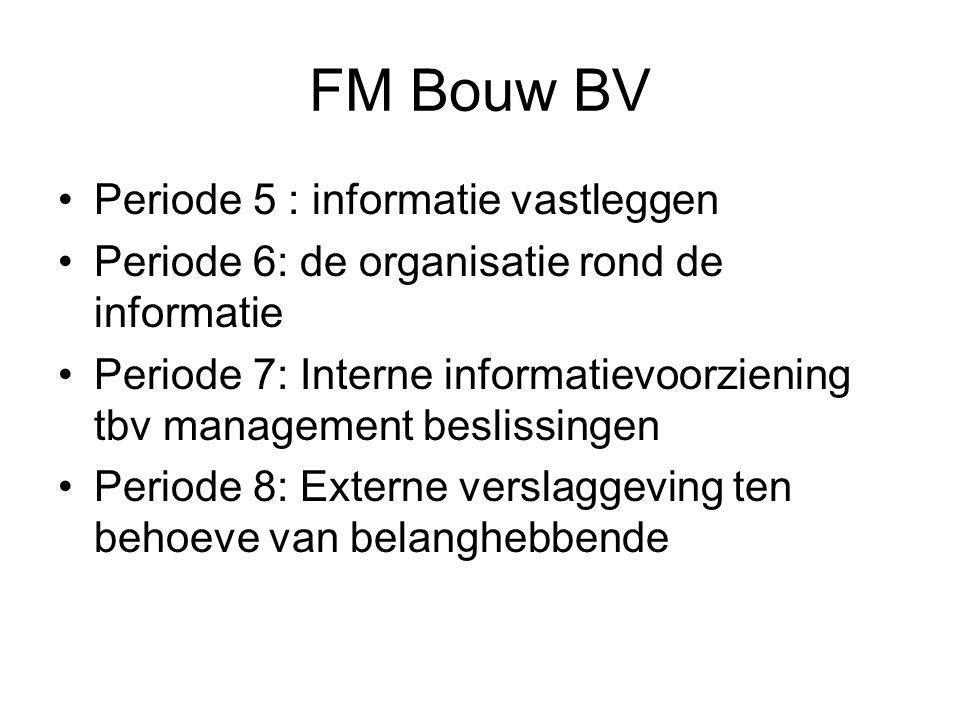 FM Bouw BV •Periode 5 : informatie vastleggen •Periode 6: de organisatie rond de informatie •Periode 7: Interne informatievoorziening tbv management beslissingen •Periode 8: Externe verslaggeving ten behoeve van belanghebbende