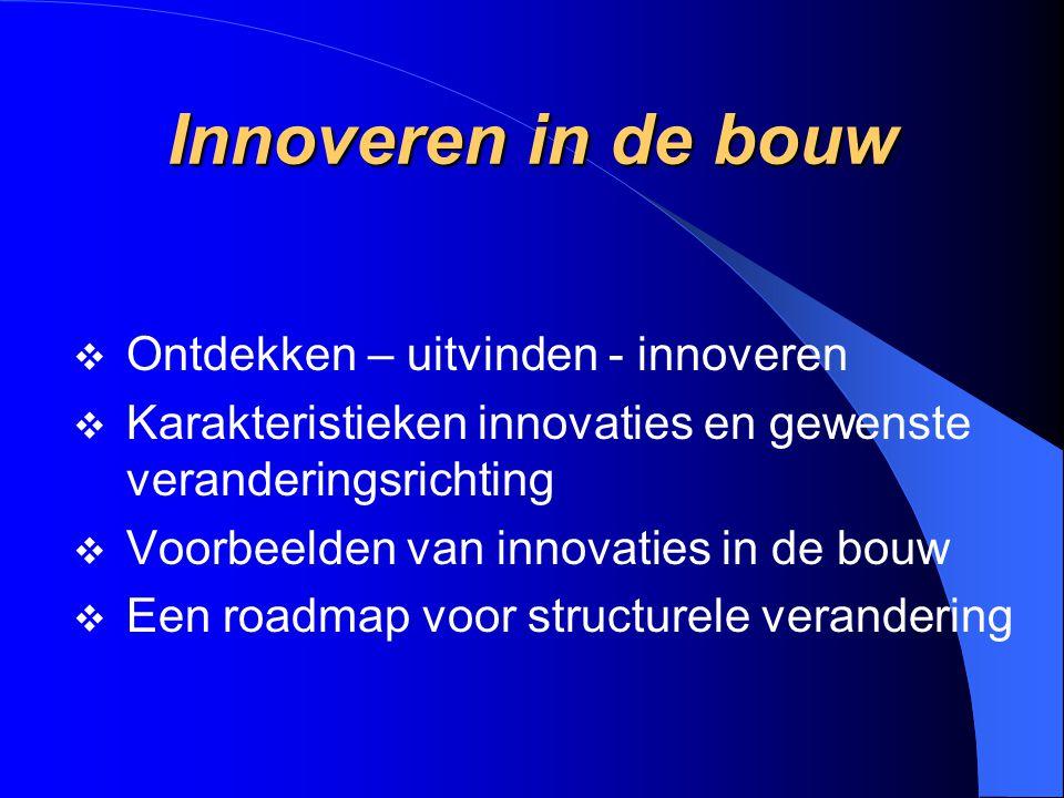 Innoveren in de bouw  Ontdekken – uitvinden - innoveren  Karakteristieken innovaties en gewenste veranderingsrichting  Voorbeelden van innovaties i