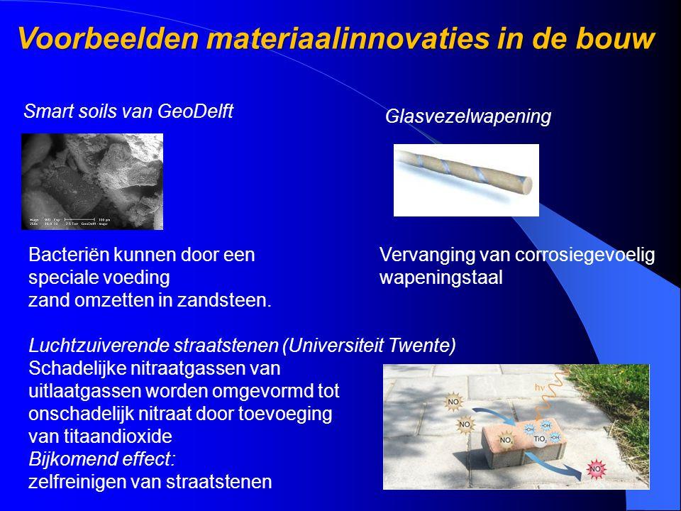 Voorbeelden materiaalinnovaties in de bouw Voorbeelden materiaalinnovaties in de bouw Smart soils van GeoDelft Bacteriën kunnen door een speciale voed