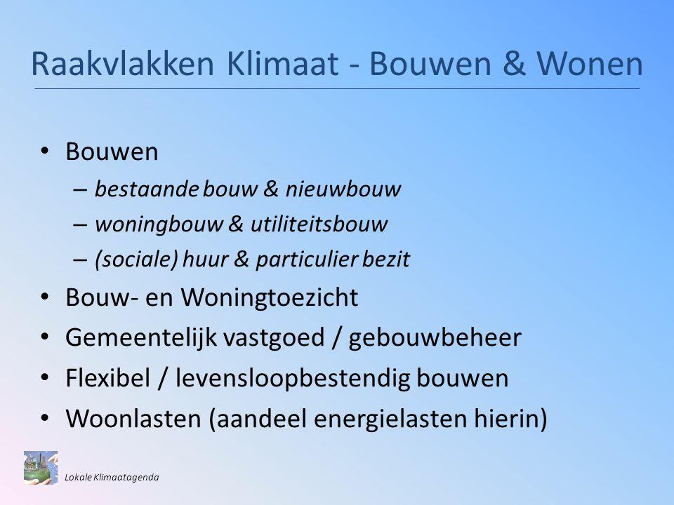 Raakvlakken Klimaat - Bouwen & Wonen • Bouwen – bestaande bouw & nieuwbouw – woningbouw & utiliteitsbouw – (sociale) huur & particulier bezit • Bouw-