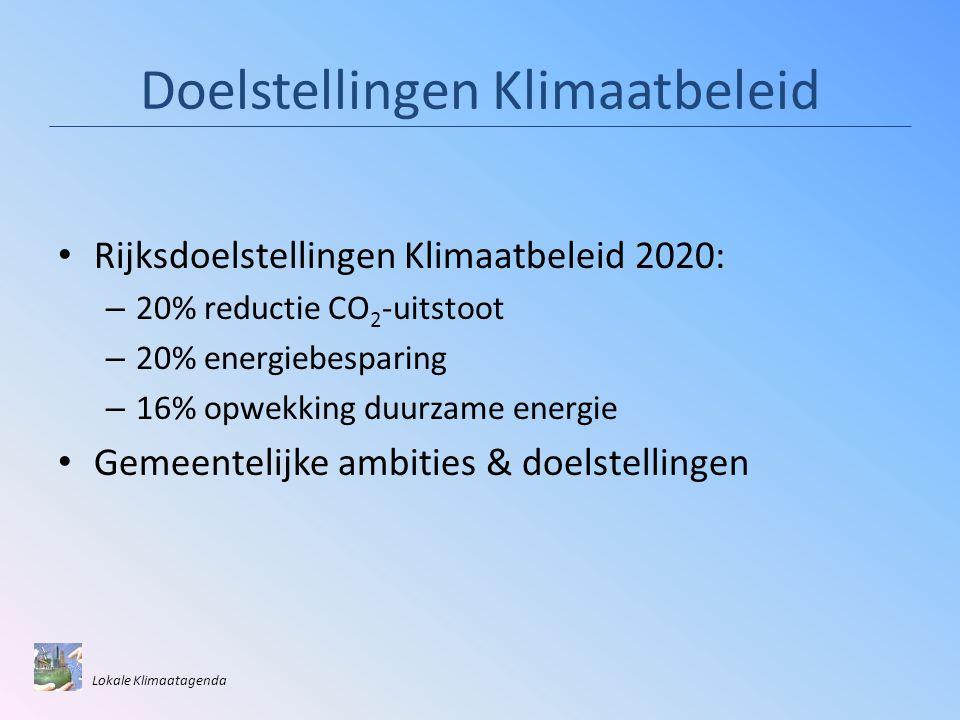 Doelstellingen Klimaatbeleid • Rijksdoelstellingen Klimaatbeleid 2020: – 20% reductie CO 2 -uitstoot – 20% energiebesparing – 16% opwekking duurzame energie • Gemeentelijke ambities & doelstellingen Lokale Klimaatagenda