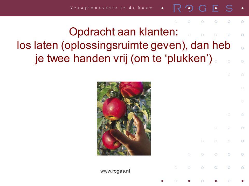 Opdracht aan klanten: los laten (oplossingsruimte geven), dan heb je twee handen vrij (om te 'plukken') www.roges.nl