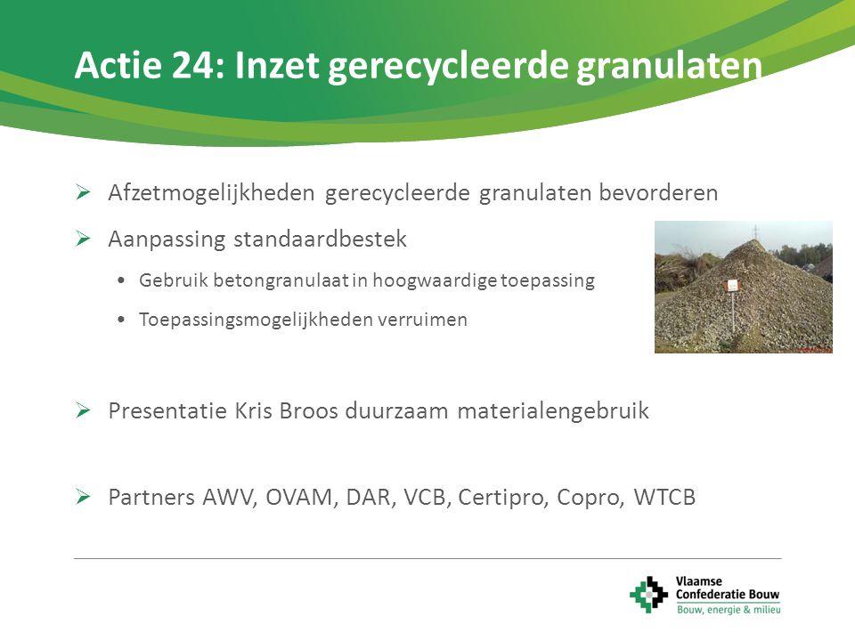  LCA gebaseerd meetinstrument om milieu impact te bepalen  Samenwerking om materialenmethodiek te vermarkten  Proefprojecten innovatieve projecten, oa brownfields  Presentatie Filip Van De Velde - De Tondelier  Partners: KU Leuven, VCB, WTCB, OVAM, VITO, DAR, Waals gewest, Brussels Gewest, FOD, Belgian Sustainable Building Council Actie 25: Samenwerkingsverband materialenmethodiek