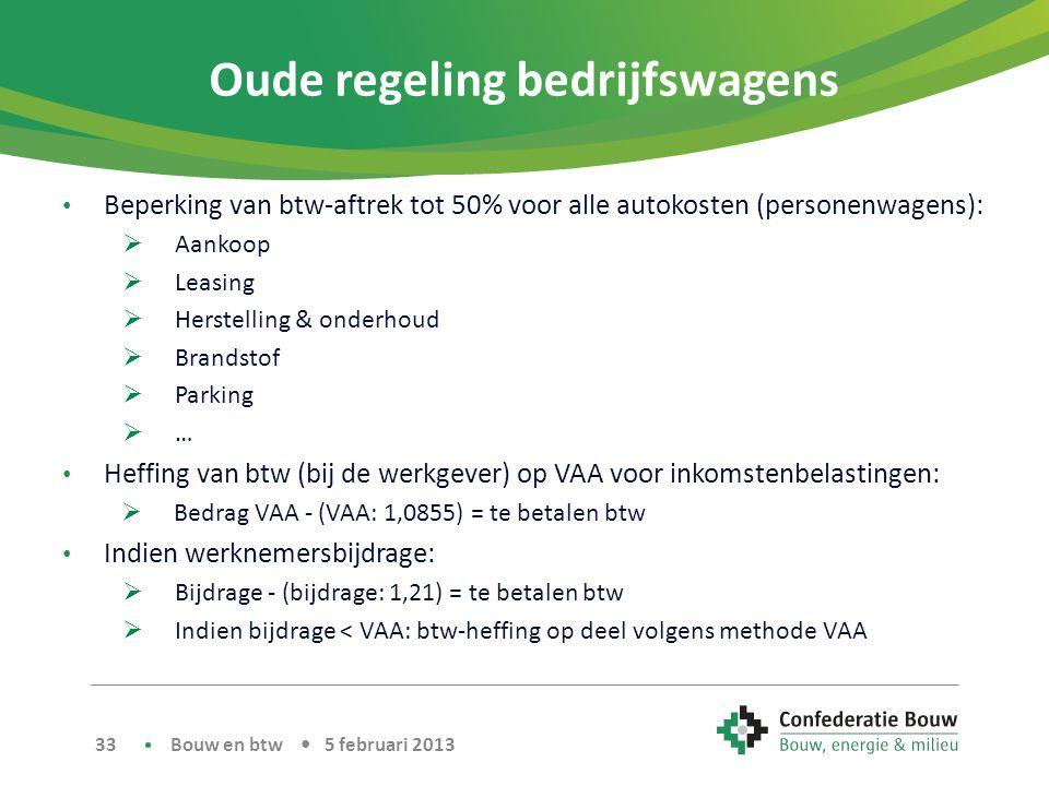 Oude regeling bedrijfswagens • Beperking van btw-aftrek tot 50% voor alle autokosten (personenwagens):  Aankoop  Leasing  Herstelling & onderhoud 