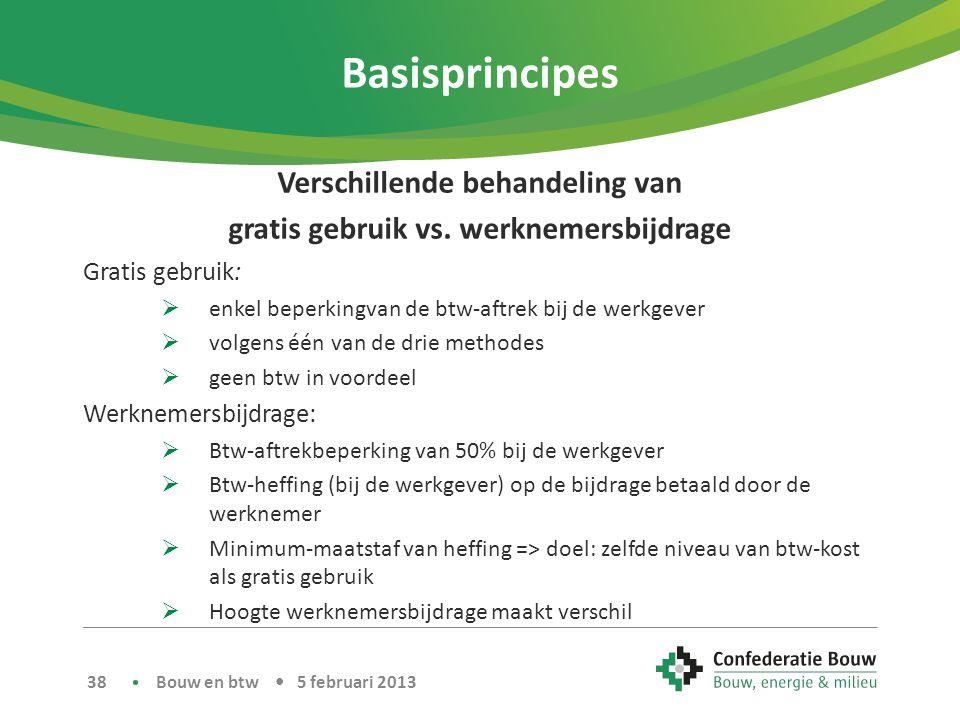 Basisprincipes Verschillende behandeling van gratis gebruik vs. werknemersbijdrage Gratis gebruik:  enkel beperkingvan de btw-aftrek bij de werkgever