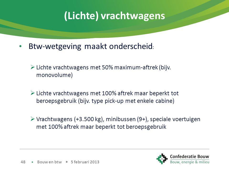 (Lichte) vrachtwagens • Btw-wetgeving maakt onderscheid :  Lichte vrachtwagens met 50% maximum-aftrek (bijv.