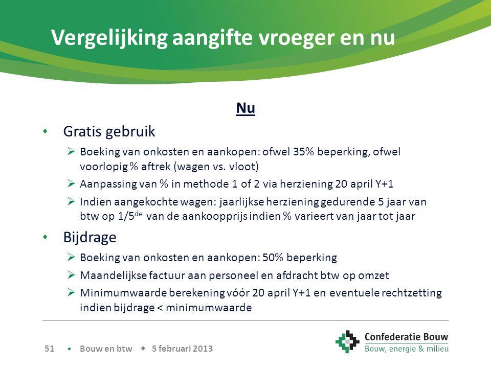 Vergelijking aangifte vroeger en nu Nu • Gratis gebruik  Boeking van onkosten en aankopen: ofwel 35% beperking, ofwel voorlopig % aftrek (wagen vs.