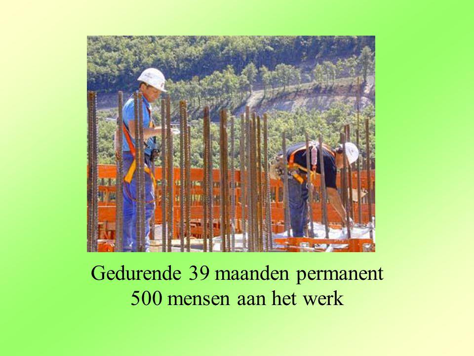 Gedurende 39 maanden permanent 500 mensen aan het werk