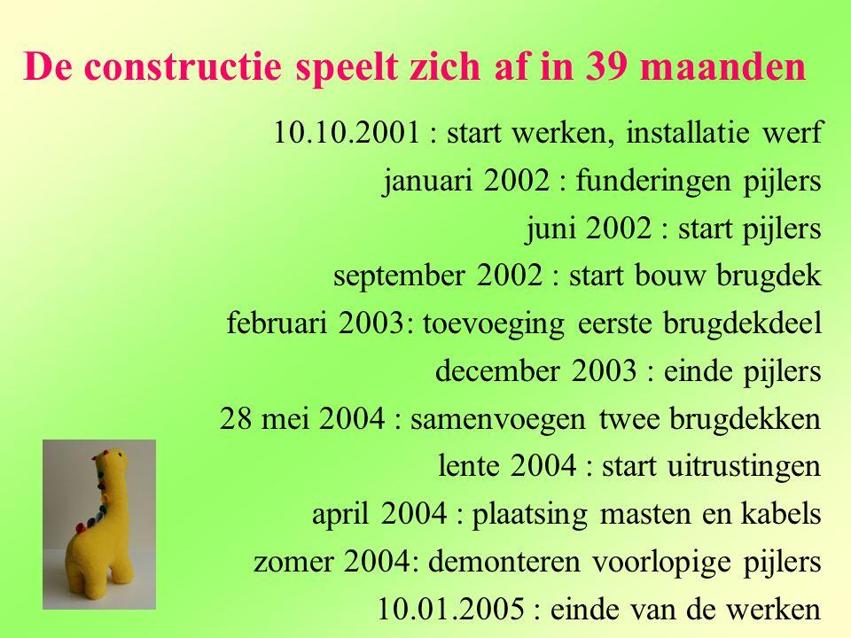 De constructie speelt zich af in 39 maanden 10.10.2001 : start werken, installatie werf januari 2002 : funderingen pijlers juni 2002 : start pijlers s