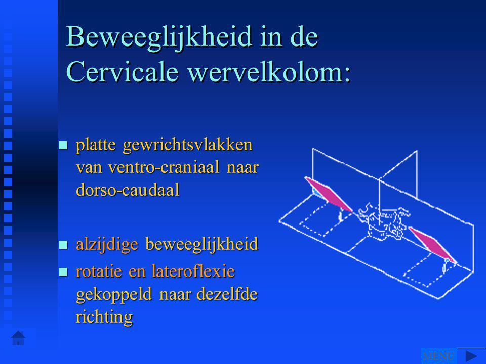 Beweeglijkheid in de Cervicale wervelkolom: n platte gewrichtsvlakken van ventro-craniaal naar dorso-caudaal n alzijdige beweeglijkheid n rotatie en lateroflexie gekoppeld naar dezelfde richting MENU