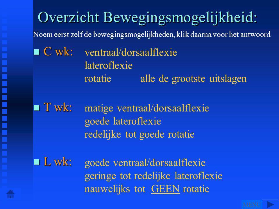 Overzicht Bewegingsmogelijkheid: ventraal/dorsaalflexie lateroflexie rotatie alle de grootste uitslagen Noem eerst zelf de bewegingsmogelijkheden, klik daarna voor het antwoord n T wk: n C wk: n L wk: matige ventraal/dorsaalflexie goede lateroflexie redelijke tot goede rotatie goede ventraal/dorsaalflexie geringe tot redelijke lateroflexie nauwelijks tot GEEN rotatie MENU