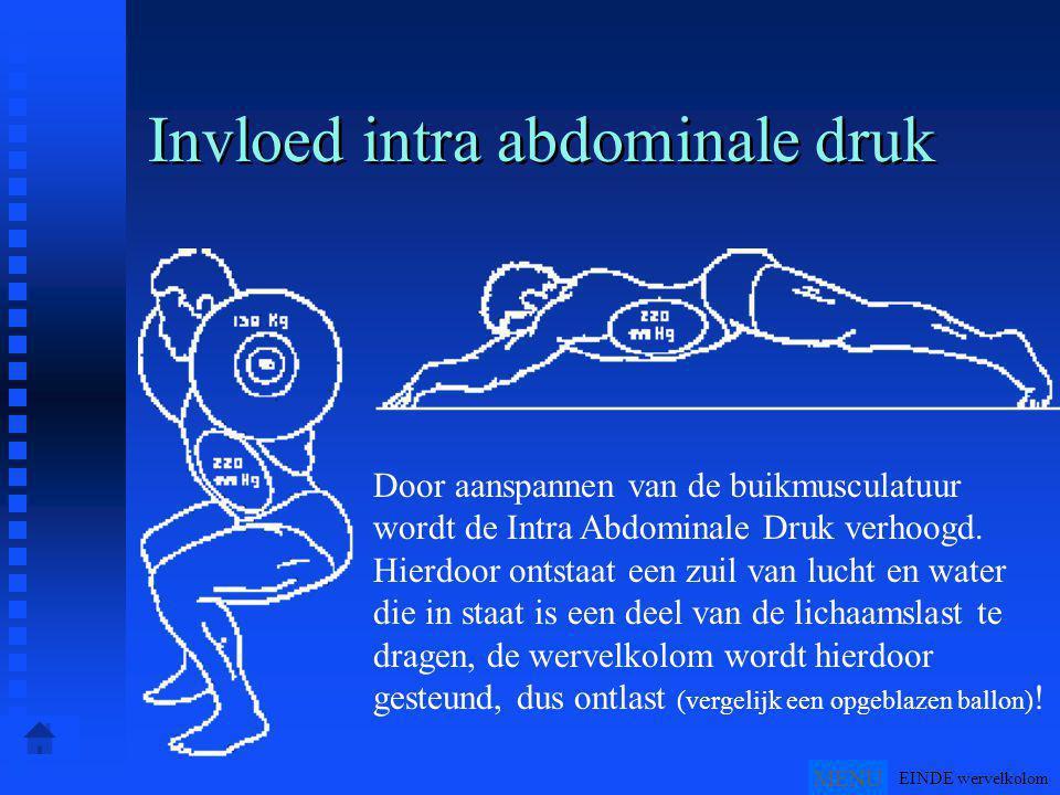 Invloed intra abdominale druk Door aanspannen van de buikmusculatuur wordt de Intra Abdominale Druk verhoogd.
