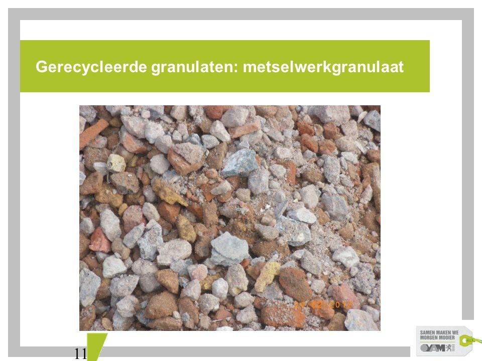 11 Gerecycleerde granulaten: metselwerkgranulaat