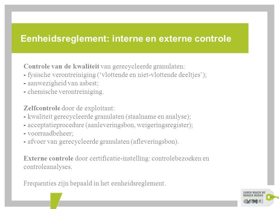 Eenheidsreglement: interne en externe controle Controle van de kwaliteit van gerecycleerde granulaten: - fysische verontreiniging ('vlottende en niet-