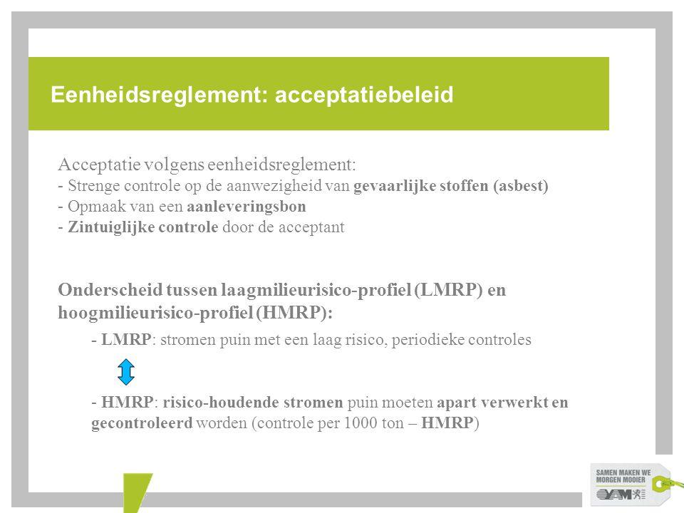 Eenheidsreglement: acceptatiebeleid Acceptatie volgens eenheidsreglement: - Strenge controle op de aanwezigheid van gevaarlijke stoffen (asbest) - Opm