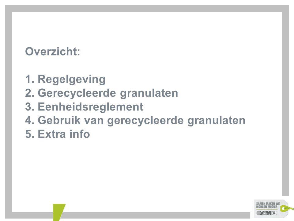 Overzicht: 1. Regelgeving 2. Gerecycleerde granulaten 3. Eenheidsreglement 4. Gebruik van gerecycleerde granulaten 5. Extra info
