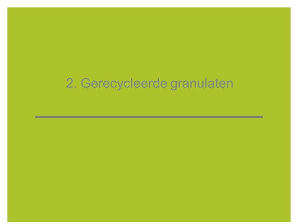 8 Gerecycleerde granulaten  De steenachtige fractie van het bouw- en sloopafval wordt bij puinbrekers gebroken tot gerecycleerde granulaten  Gerecycleerde granulaten: - beton-, meng-, metselwerk- en asfaltgranulaat - brekerzeefzand (afkomstig van het afzeven van het puin, vóór het breken) - sorteerzeefzand: zeefzand van sorteerders  Toepassingsgebieden: SB 250 van de wegenbouw - (onder)fundering; - in mager betontoepassingen; - voor nieuw beton; - andere toepassingen.
