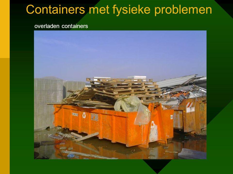 Containers met fysieke problemen overladen containers