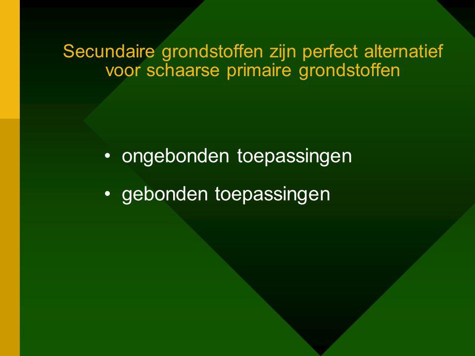 Secundaire grondstoffen zijn perfect alternatief voor schaarse primaire grondstoffen •ongebonden toepassingen •gebonden toepassingen